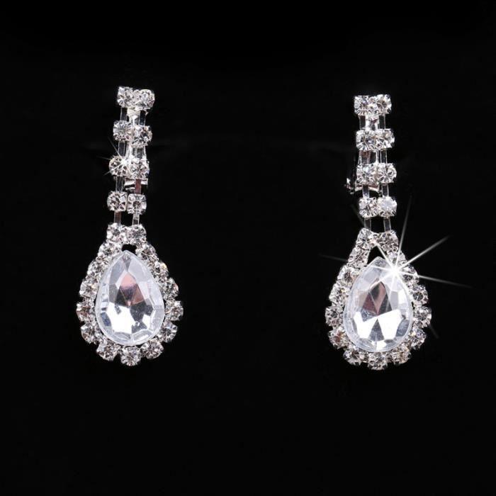 Bijoux couronne diadème de mariée collier boucles doreilles trois-pièces accessoires robe de mariée équipée