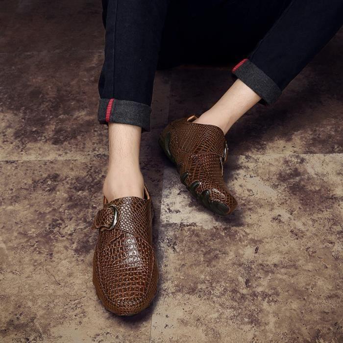 chaussures multisport Homme de conduited'affaires respirante Mocassins en cuir décontractée avec Buckles marron taille46
