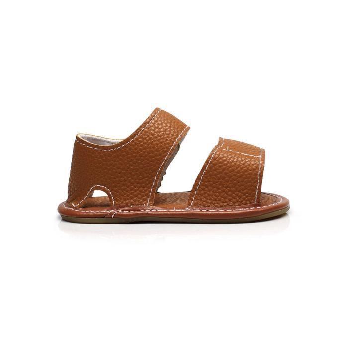 4f1eac16e7126 Bébé En De né Nouveau Plates marron Fille Cuir Enfant Garçon Chaussures  Sandales Camouflage D été ...