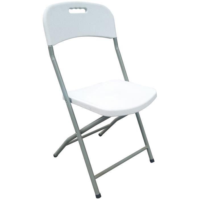 Lot de 2 chaises pliantes - Poudre enduits ossature d'acier - 42 x 42 x 87 cm - Tube en acier Ø 19 x