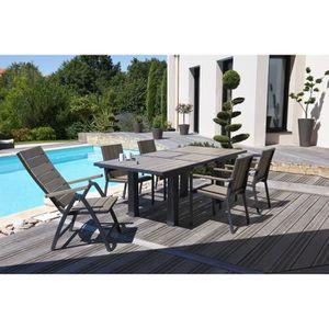 Ensemble table extensible de jardin 160 - 220 cm + 6 fauteuils ...