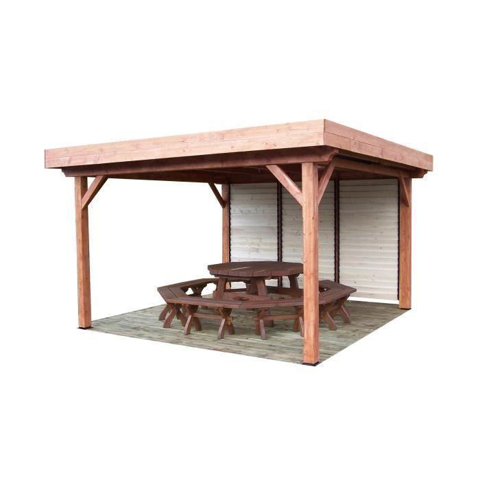 auvent toit plat couverture bac acier avec ventelles mobiles sur 1 c t de 3 30 m et 4 poteaux. Black Bedroom Furniture Sets. Home Design Ideas