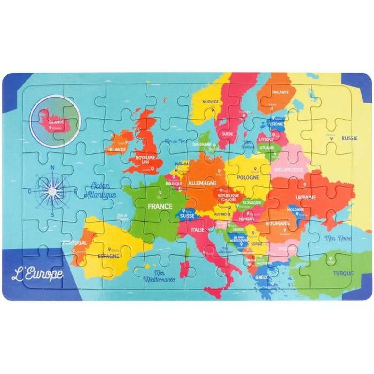 Carte De Ieurope.Puzzle Cadre 48 Pieces 22x36cm Carte De L Europe Achat Vente