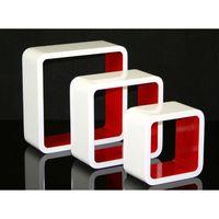ETAGÈRE MURALE Étagères cube murale de 3 piéces coloris rouge et
