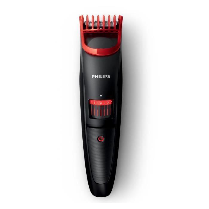 PHILIPS BT405/16 Tondeuse barbe Beardtrimmer Series 1000 - 35 mn d'autonomie - Noir/Rouge