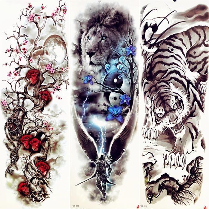3 Morceaux Grand Lion Bleu Fleur Femmes Plein Bras Temporaire