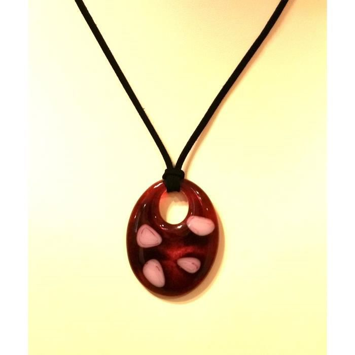 Womens Fused Stained Glass Pendant Necklace - Pink Abstract Spots FIZBK