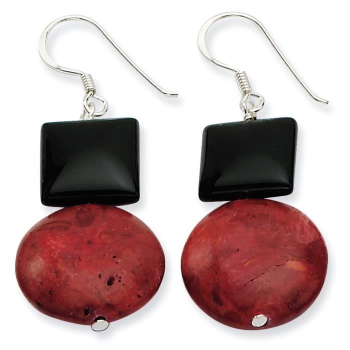 Argent 925/1000–Agate noir/rouge corail-Boucles doreilles