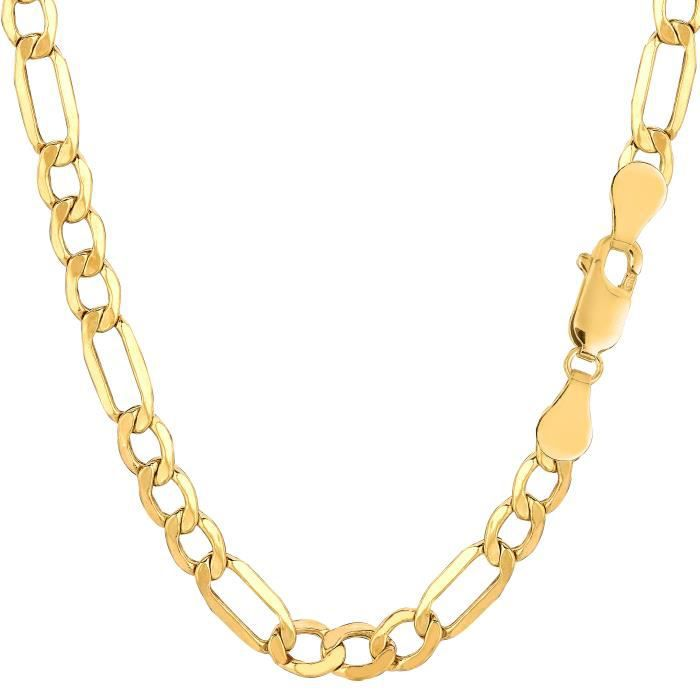 Collier- 10 k jaune or creux Figaro, 5,4 mm, 24
