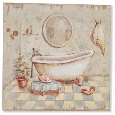 cadre tableau bois baignoire salle de bain achat vente tableau toile cdiscount. Black Bedroom Furniture Sets. Home Design Ideas