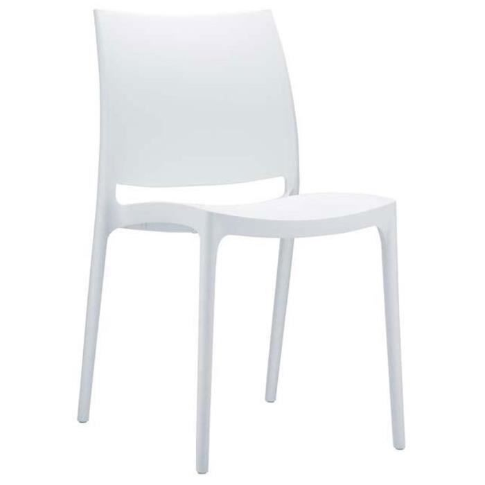 Chaise De Jardin Empilable En Plastique Blanc