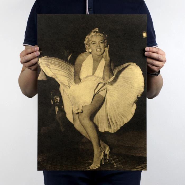 Rétro Marilyn Monroe Vintage Vintage Kraft papier affiche Bar Art Design pour les cadeaux
