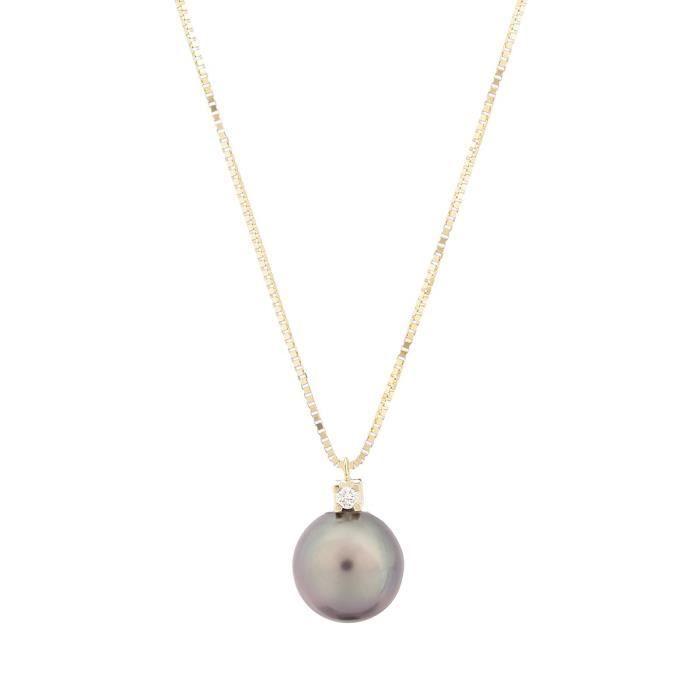 Perlinea Collier Or Jaune 375 Diamant Et Perle De Tahiti Femme Dore