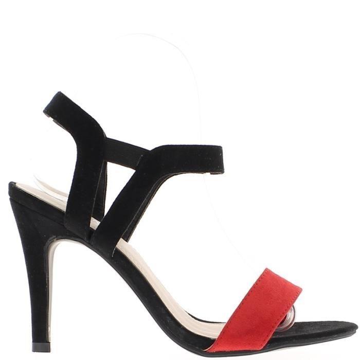 Sandales rouges et noires à talon fins de 10,5cm