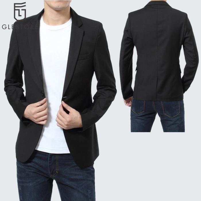 mode de vente chaude une grande variété de modèles jolie et colorée GLESTORE Costume homme blazer homme Noir Noir - Achat ...