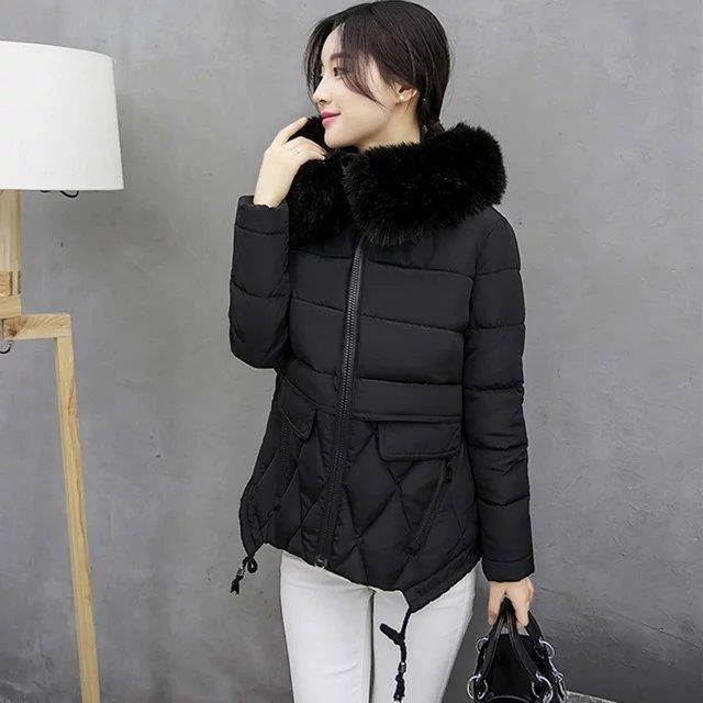 Épaissir D'hiver Zipper Manteaux Col Capuche Femmes À Fourrure Mode Manteau Design Court KJT1l3Fc
