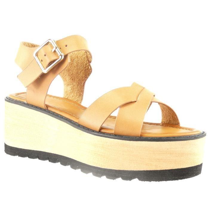 94ecd8c06f089 Angkorly - Chaussure Mode Sandale plateforme ouverte femme lanière multi-bride  Talon compensé plateforme 6 CM - Camel - L1892