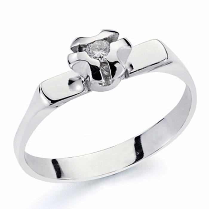 Bague solitaire 18k brillant 0.10ct diamant [AA1783] or blanc - Taille: 55