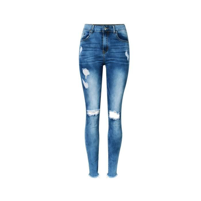 Pantalon Femme 2018 Ete Nouvelle En Jean Stretch Taille Haute Trou