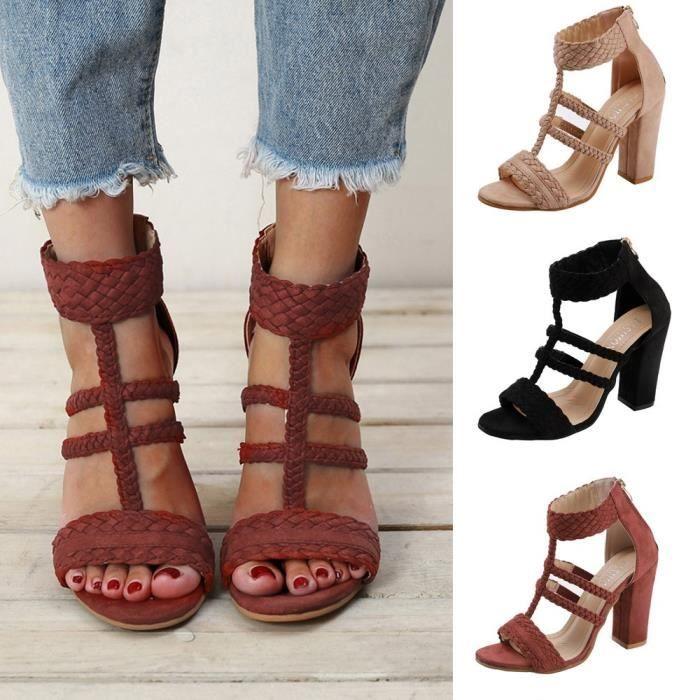 e2a3d725a26 Femmes dames sabot talons sandales peep toe loisirs chaussures à talons  hauts chaussures de fête