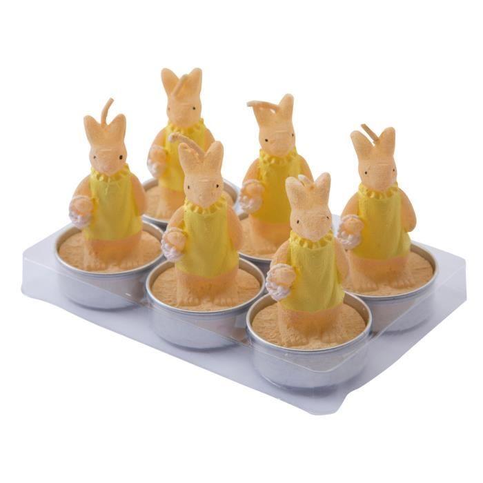 BOUGIE DÉCORATIVE Lot de 6 bougies chauffe-plat lapin jaune