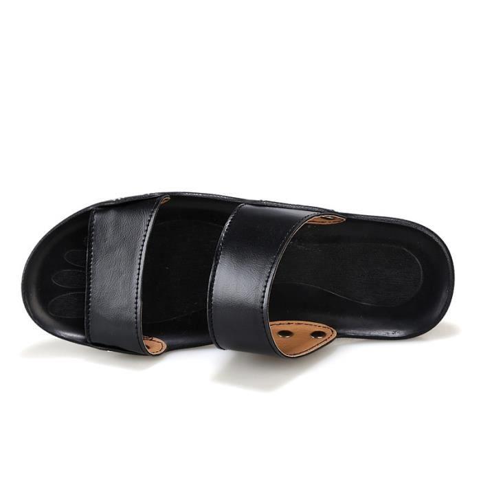 Hommes Sandales d'été à bout ouvert en cuir Loisirs Plage Slipper Homme Accueil Flip-Flop oq2gf