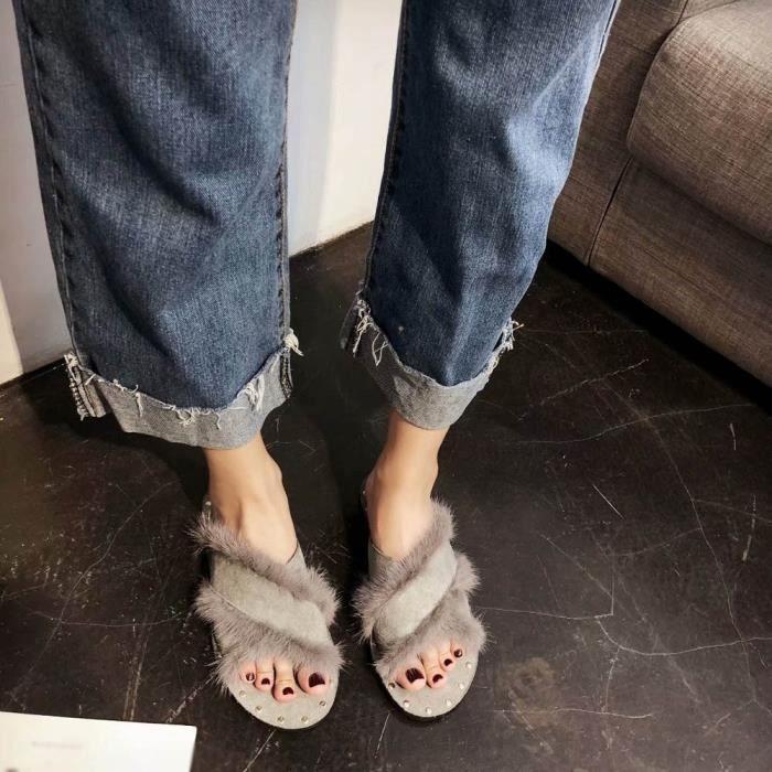 Chauds Chaussures En Chaussons Accueil 7407 Femmes Mode D'hiver Pantoufles Peluche a0Eqtn6Hw