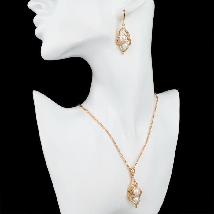 Perles blanches des femmes Emelie Set 18k dor cubique zircons perle Boucles doreilles & Set Collier pourJ6LPJ