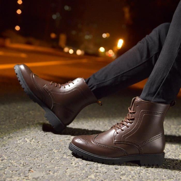 Botte Homme Haut-top Brogue hiver Vintage noir taille9.5 os3Ueq