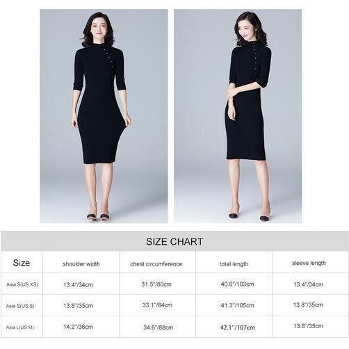 ... Noir Fitibest manches longues mi longueur robe pull pour les femmes, ... be6c4cf52a91
