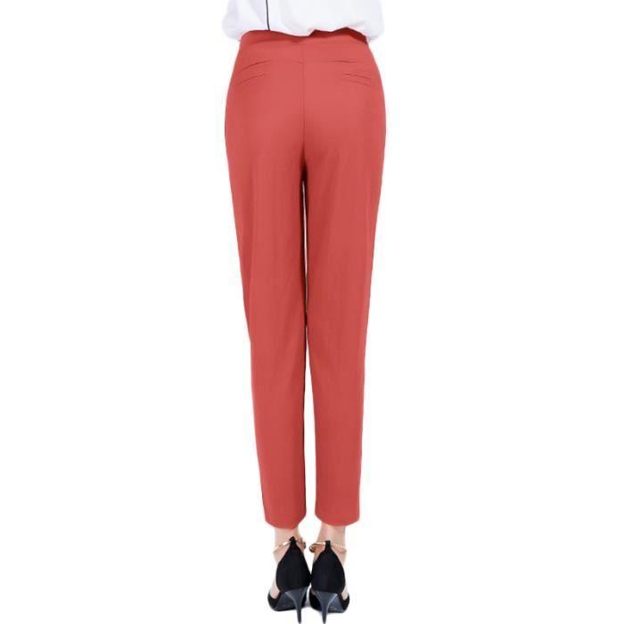 Pantalon Foncé vert Haute Plisse Foncé Casual violet Foncé Unie noir rouge vert Femme Rouge Taille orange marron Sarouel Couleur xIz7qrX1xw