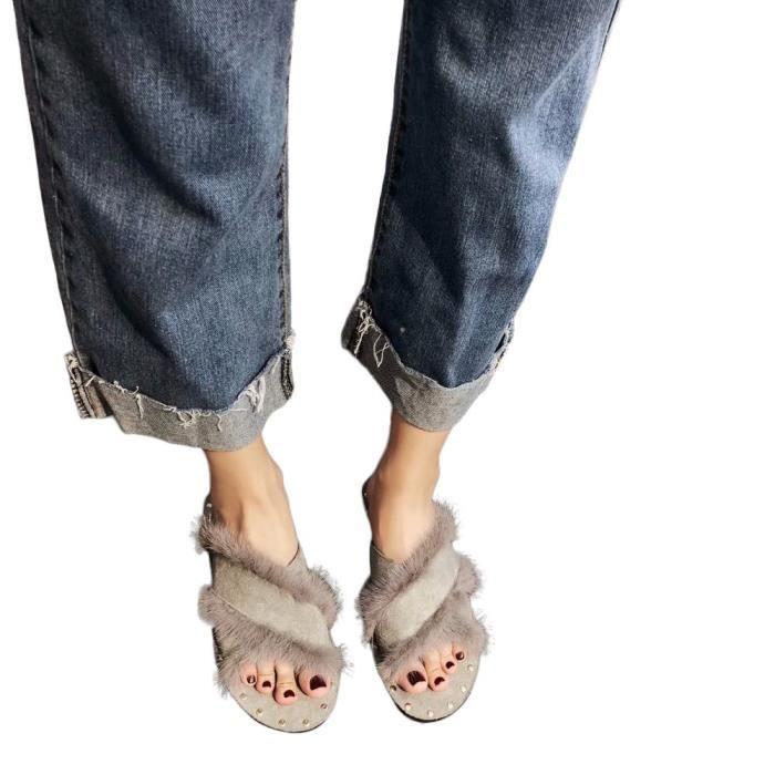 En 7407 Chaussures Pantoufles Mode Accueil Peluche D'hiver Femmes Chauds Chaussons HtxBFBAqWn