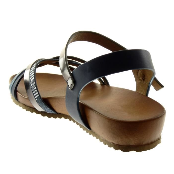 Angkorly - Chaussure Mode Sandale lanière cheville femme multi-bride peau de serpent strass diamant Talon compensé 3 CM - Bleu -