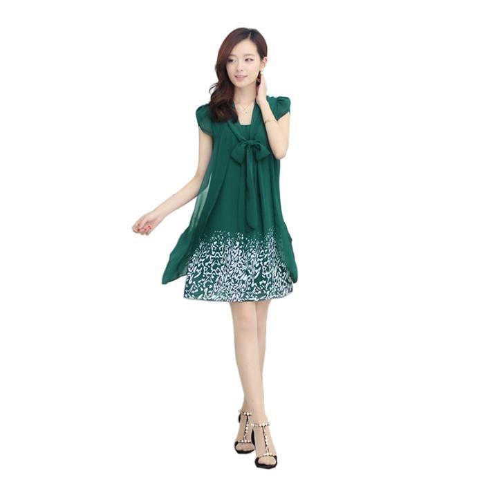 Robe Femme Été manches courtes en Chiffon imprimé slim fit mode doux Vert foncé SIMPLE FLAVOR