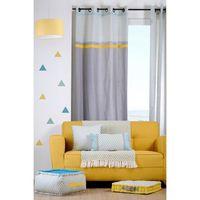 rideau coton gris et jaune 135x260 isocele achat vente. Black Bedroom Furniture Sets. Home Design Ideas