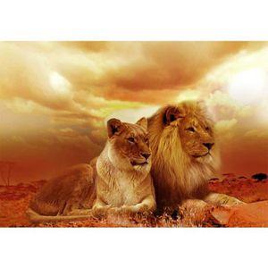 TABLEAU - TOILE Couple LIONS - 40*30 cm Full - 5D Diamond Painting