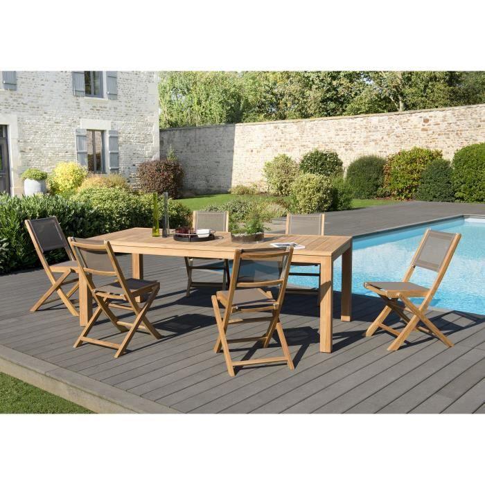 Ensemble de jardin en teck : 1 table à manger Vieste 220 x 100 cm, couleur naturelle - 3 lots de 2 c