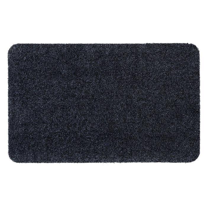 Couleur bleu océan mouchetée de noir - Lavable 30° - 100% polyester - 50x80 cm - Usage intérieurTAPIS D'ENTREE - TAPIS DE SEUIL