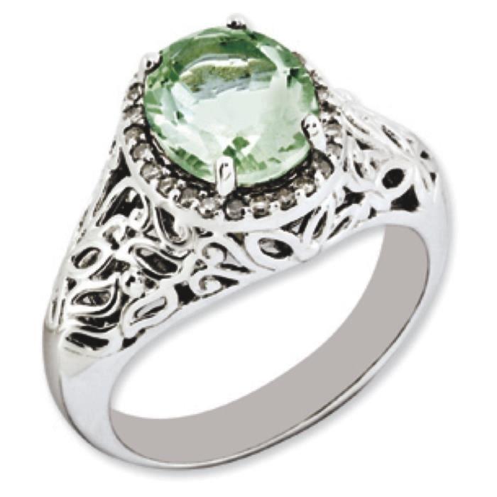 Argent Sterling Quartz vert ovale et diamants bruts N-Taille 1/2–JewelryWeb