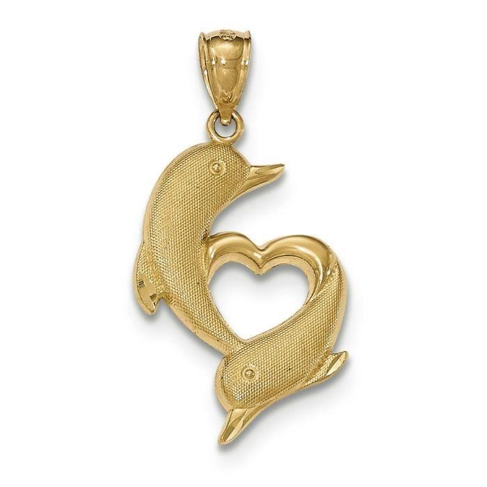 Or 14 Carats Dauphins poli et texturé avec Pendentif Coeur