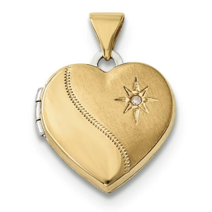 14 carats-Bicolore - 15 mm-Médaillon en forme de cœur