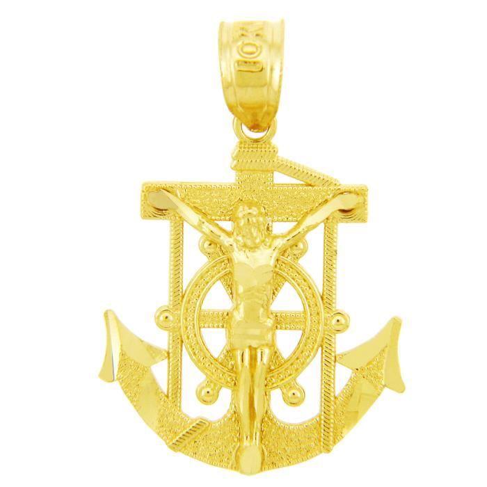 Collier Pendentif14 ct 585/1000 Religieux CharmsLe ancrés Mariners-Croix-Or
