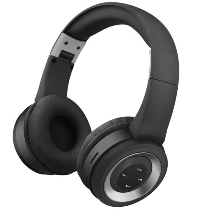 Silver Casque Micro Sans Fil Bluetooth Avec Écouteurs Stéréo Pliables