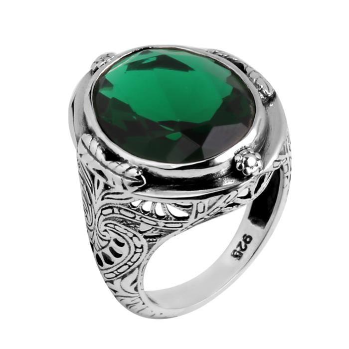 925 1000 bague homme femme argent emeraude vert achat vente bague anneau mixte. Black Bedroom Furniture Sets. Home Design Ideas