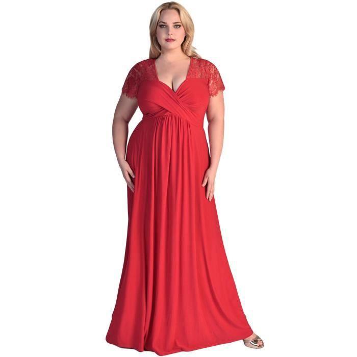 6e2cb4745a EOZY Robe de Soirée Longue Grande Taille Femme ... Rouge Rouge ...