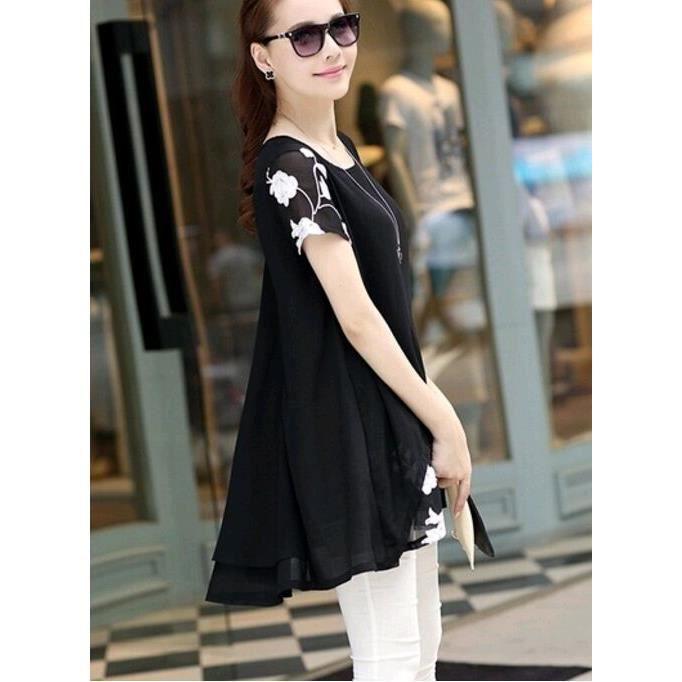 New Fashion femmes chemisier manches courtes mousseline de soie t-shirts broderie robe de fleur