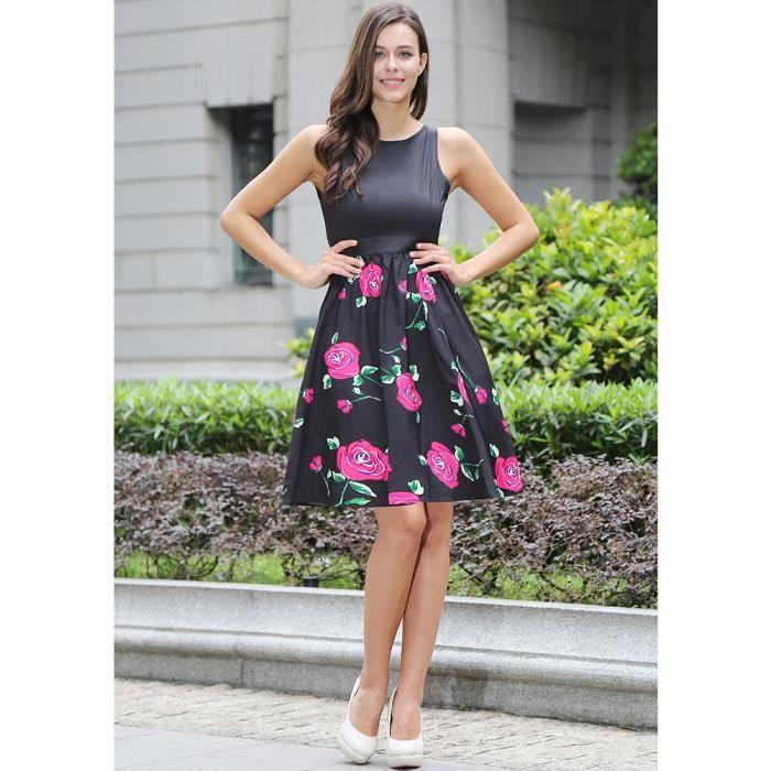 43ff44b1ed6 Channy® Femme Robe Longue en Floral Imprimé Sans Manche en Col V Robe de  Soirée