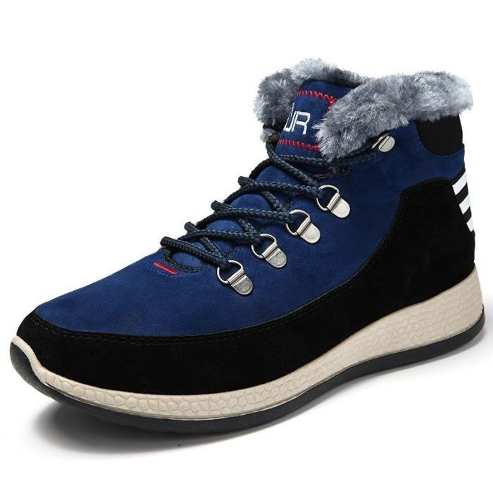 Style coréen hommes antidérapante bout rond Chaussures plates Ajouter laine Bottes de neige elxTprw