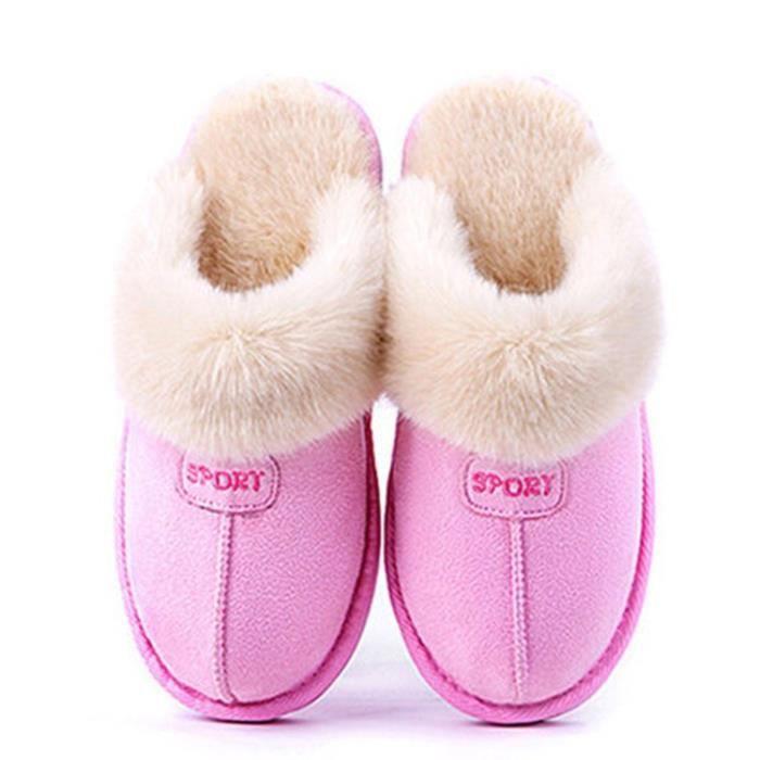 Mode peau de mouton chaud pantoufles fourrure naturelle des femmes chaussures maison hiver pantoufles en daim femme chaussures tVGE6Ge