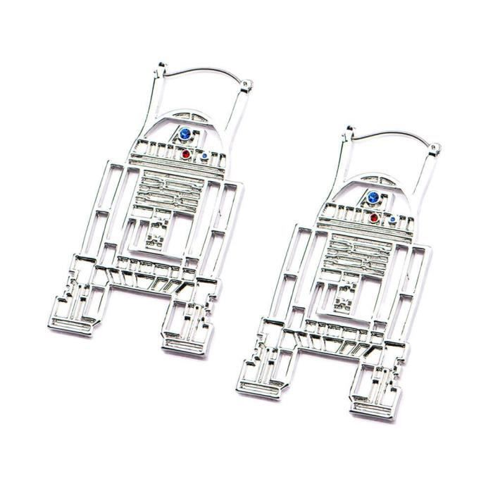 Petites boucles doreilles en acier inoxydable officielles de Star Wars R2-D2